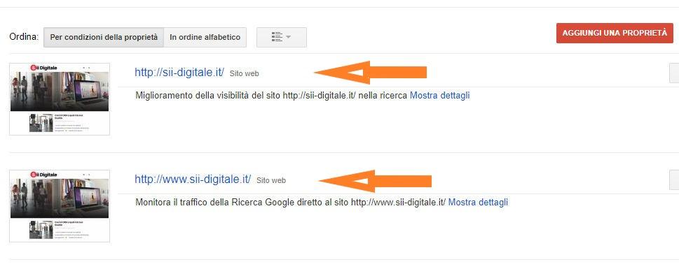 Mirror Hostname e le proprietà in Google Search Console