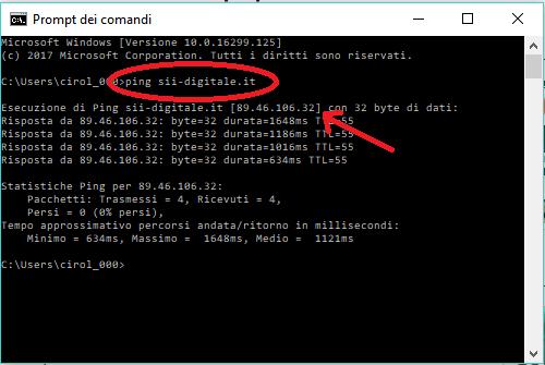 Indirizzo IP tramite il Prompt dei Comandi ed il Ping di Windows