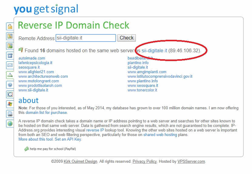 Elenco dei siti hostati sullo stesso Indirizzo IP tramite il Tool YouGetSignal