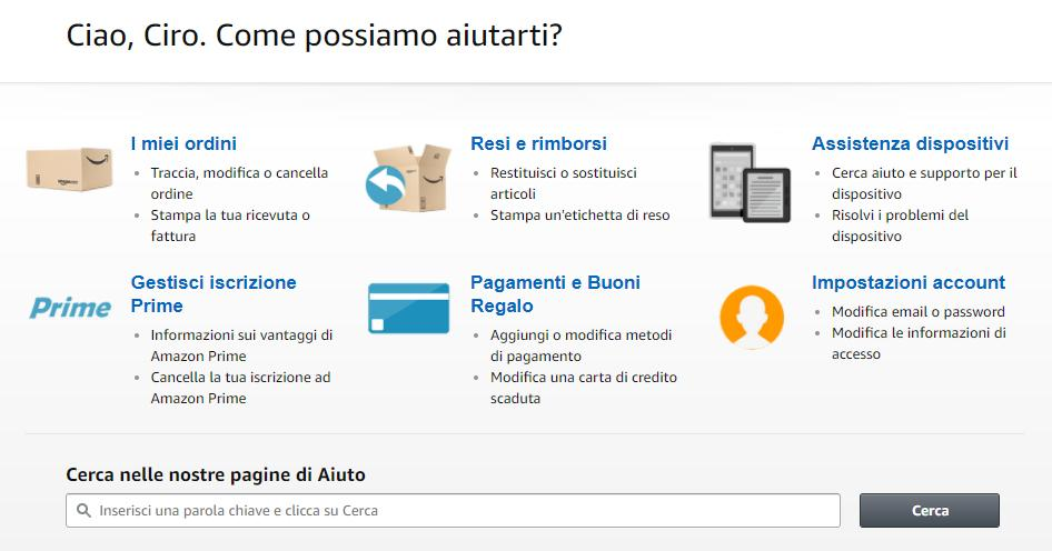 Il CRM ed il Customer Care di Amazon
