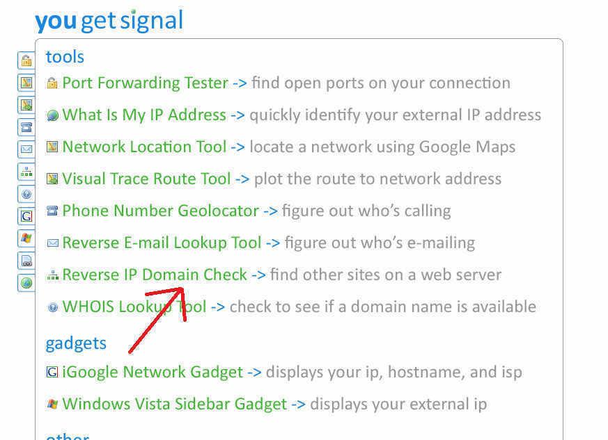 Indirizzo IP tramite il Tool YouGetSignal