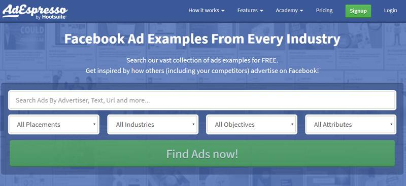 Facebook Ad Examples, tool utile per chi gestisce le Facebook Ads